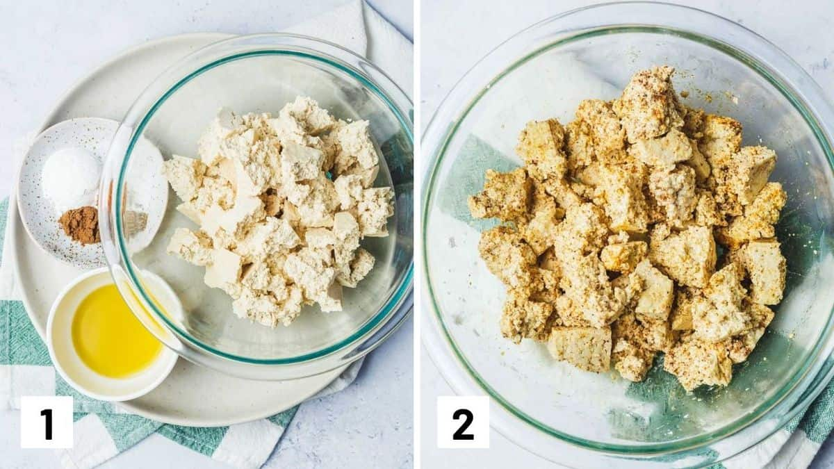 Set of two photos showing tofu crumbled beside the seasoning and then being marinated in a bowl.