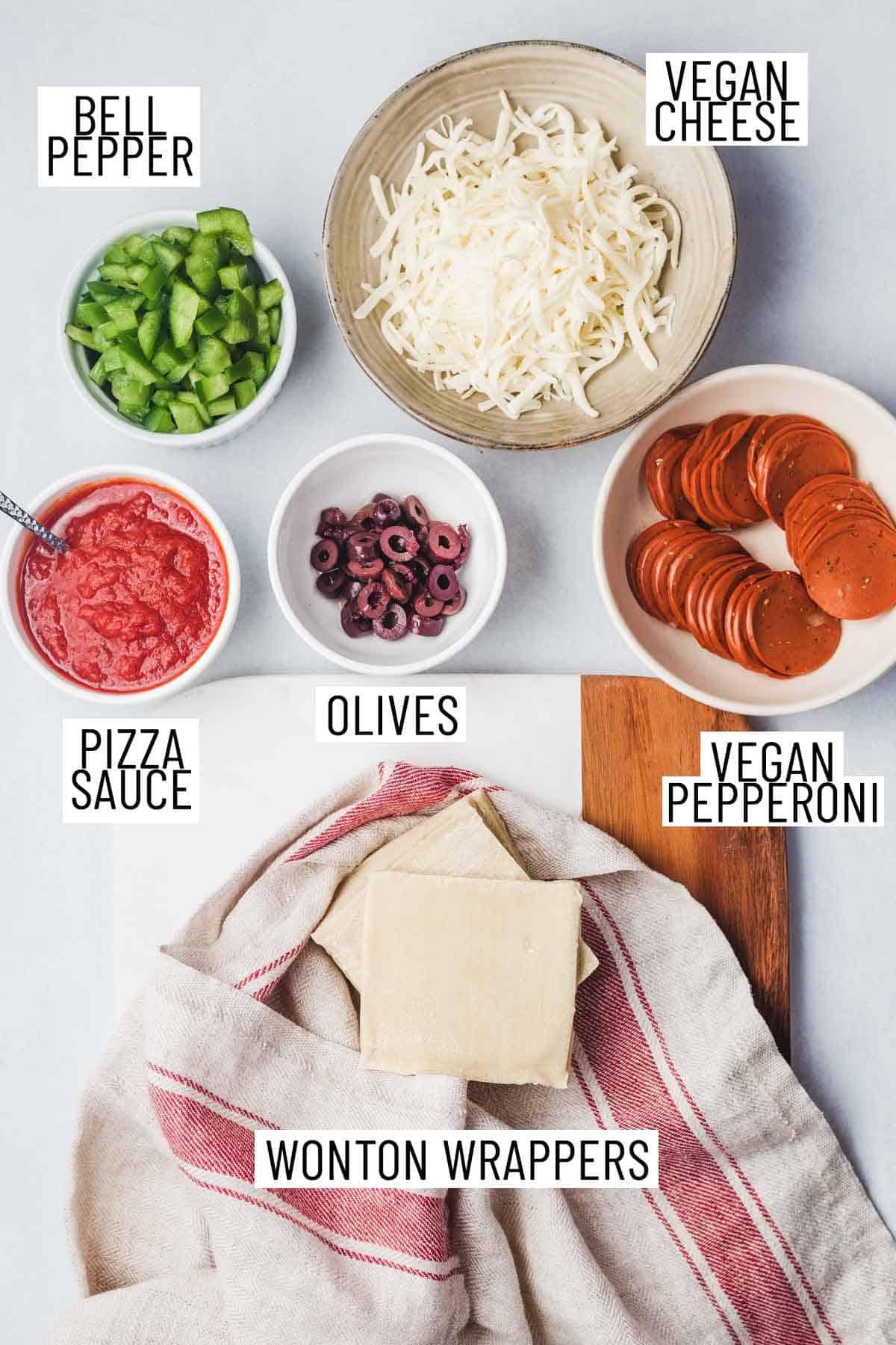 Ingredients needed to make air fryer pizza rolls.