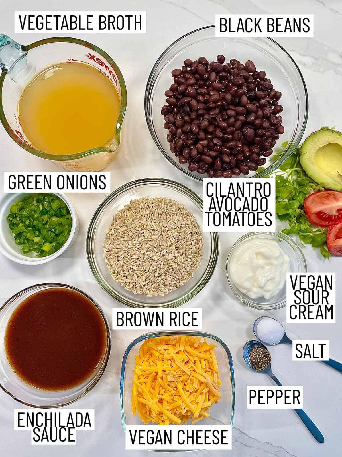 Ingredients needed to make an enchilada bowl.