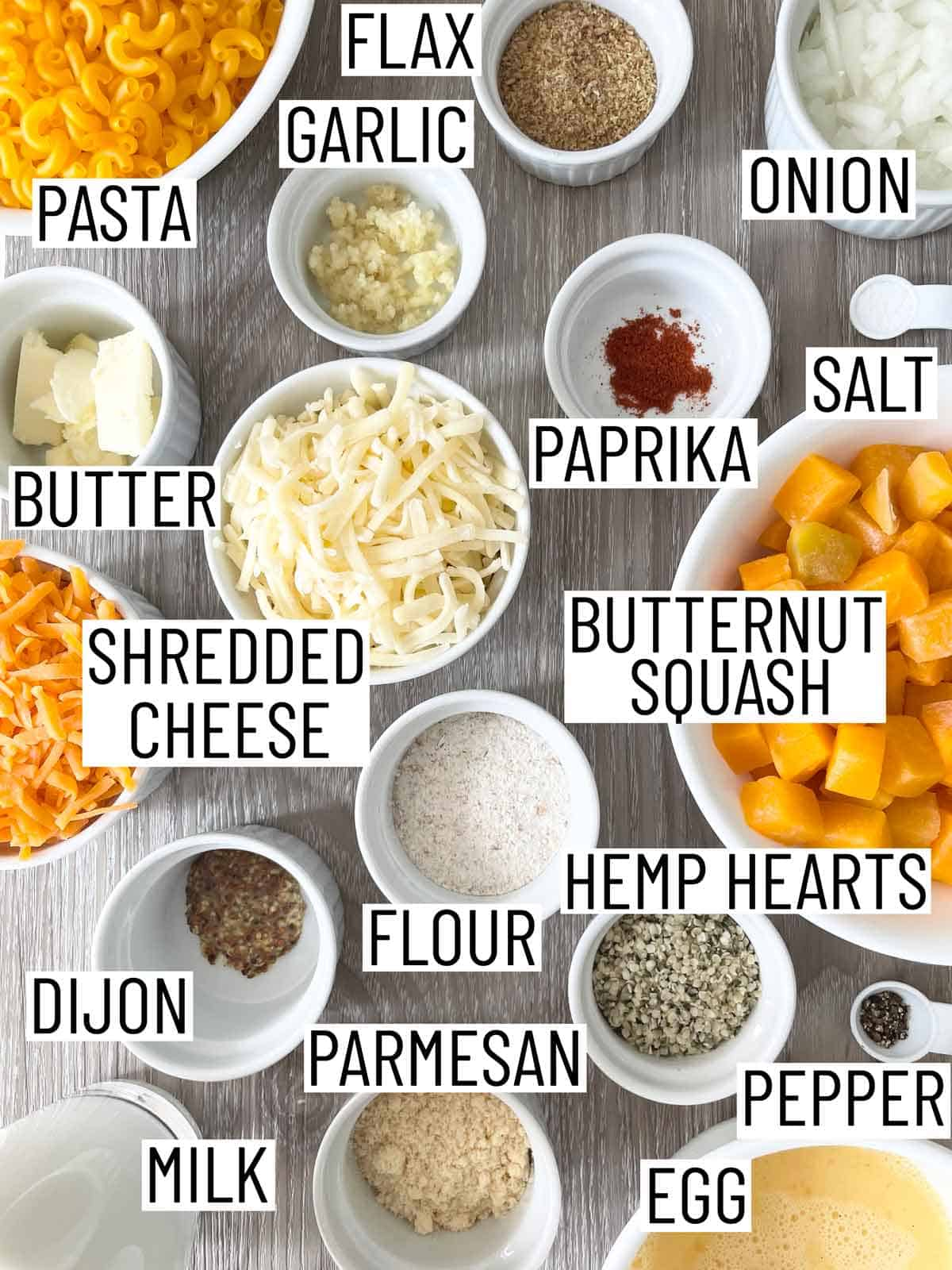 Ingredients needed to make mac and cheese bites.