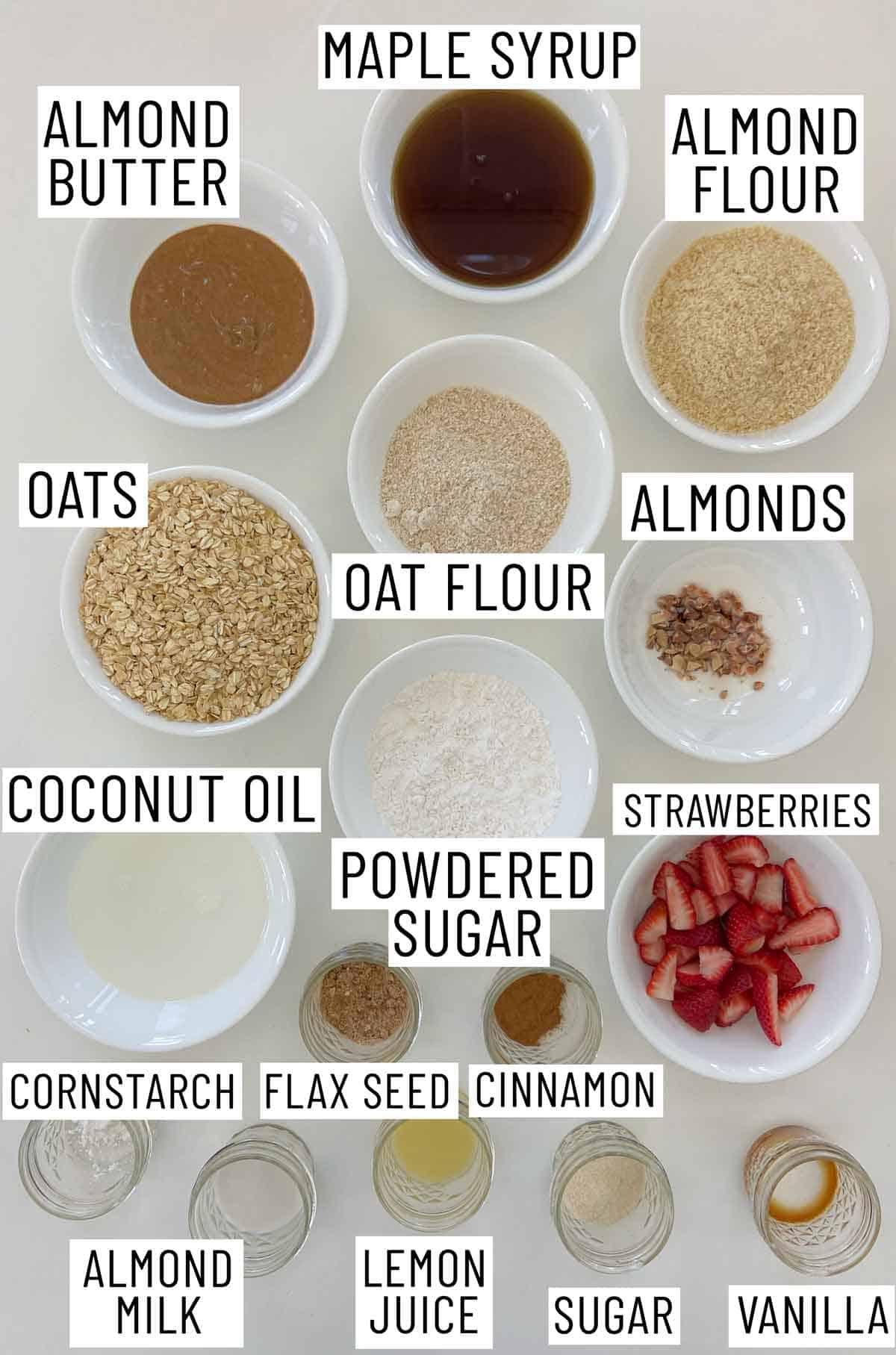 Ingredients needed to make oatmeal breakfast bars.
