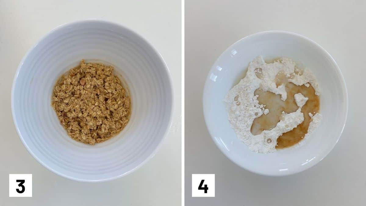 Set of two ingredients showing the streusel being mixed and the glaze mixed.