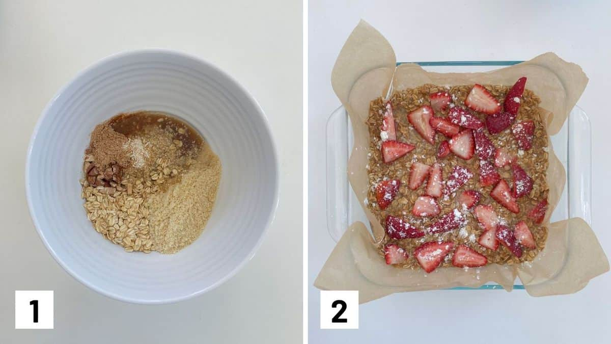 Set of two photos showing the bar ingredients mixed in a bowl then pressed in a pan, topped with strawberries.