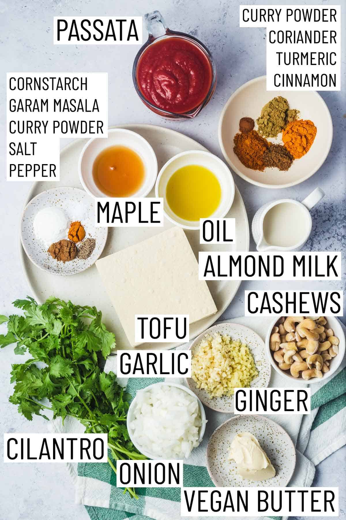 Ingredients needed to make vegan butter chicken.