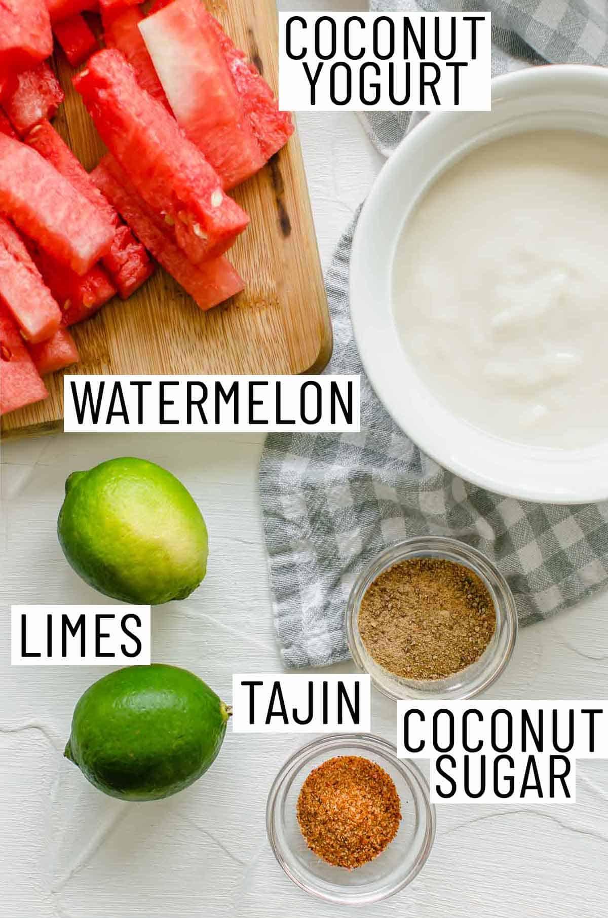 Ingredients needed to make watermelon fries.