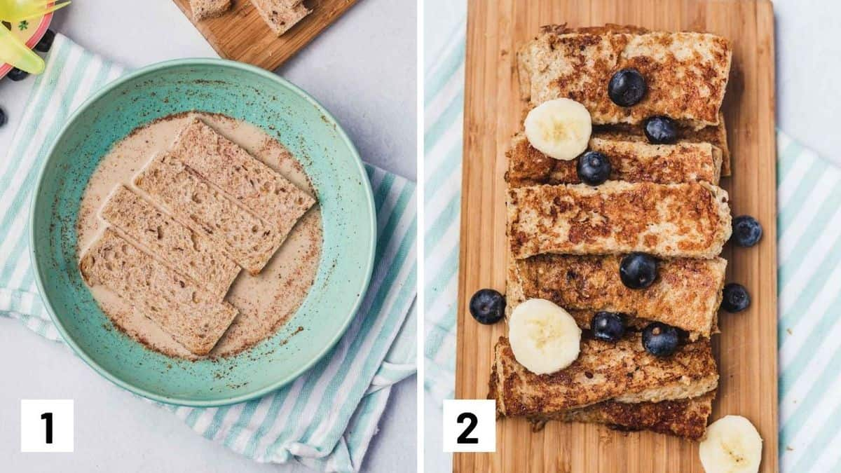 Set of two photos showing bread being soaked and then the finished recipe with fruit on top.