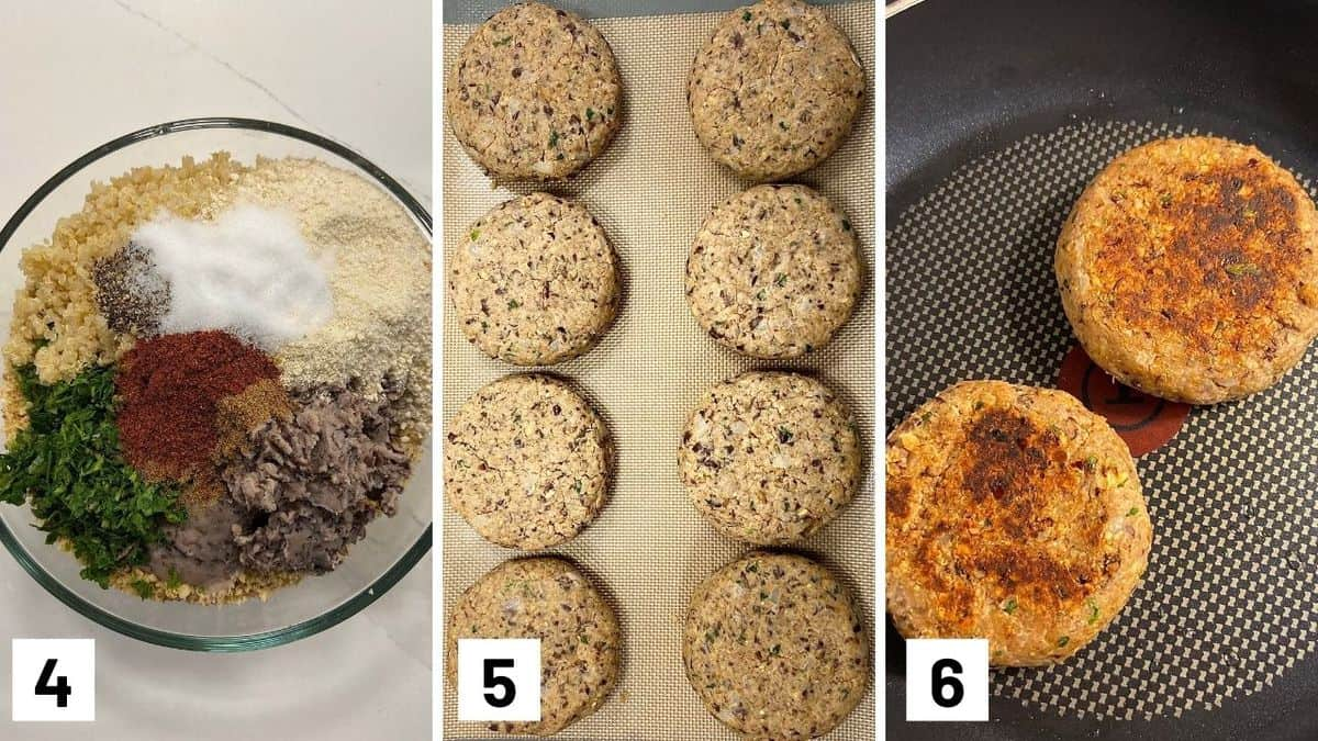 Set of three photos showing patty ingredients in a bowl, formed into a patty, and then cooked in a skillet.
