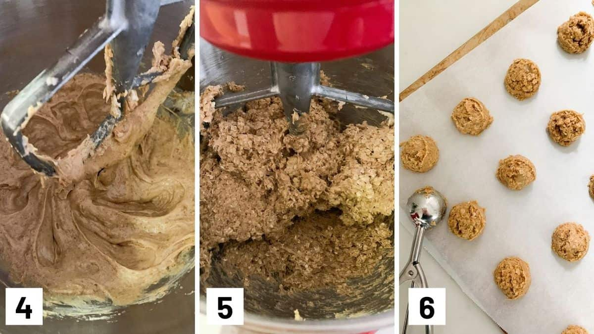 Set of three photos showing the vegan butter being beat and then mixed with the dry ingredients and formed into round balls.