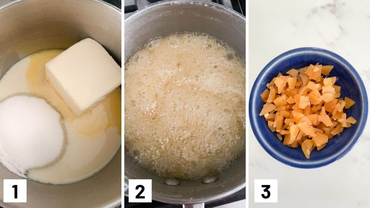 Set of three photos showing vegan butter, sugar, maple syrup, soy milk, and salt in a pan, simmered, then cracked into a bowl.
