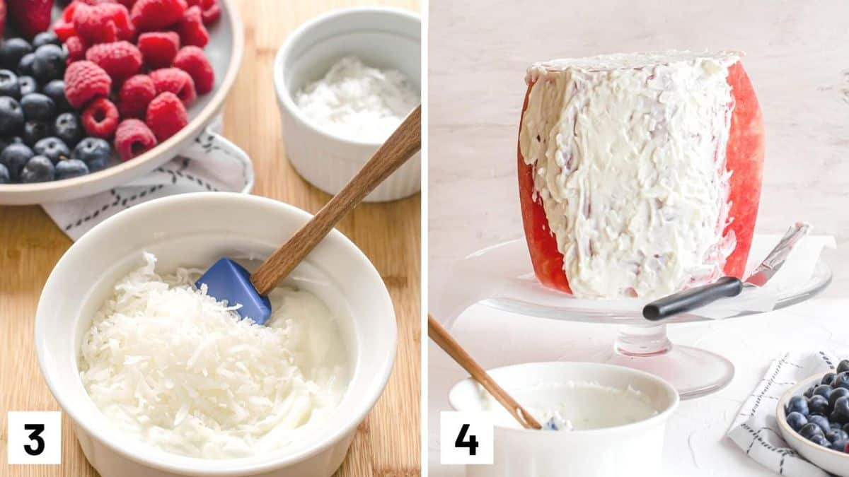 Set of two photos showing yogurt mixed with shredded coconut and then spread on to the fruit on a serving platter.