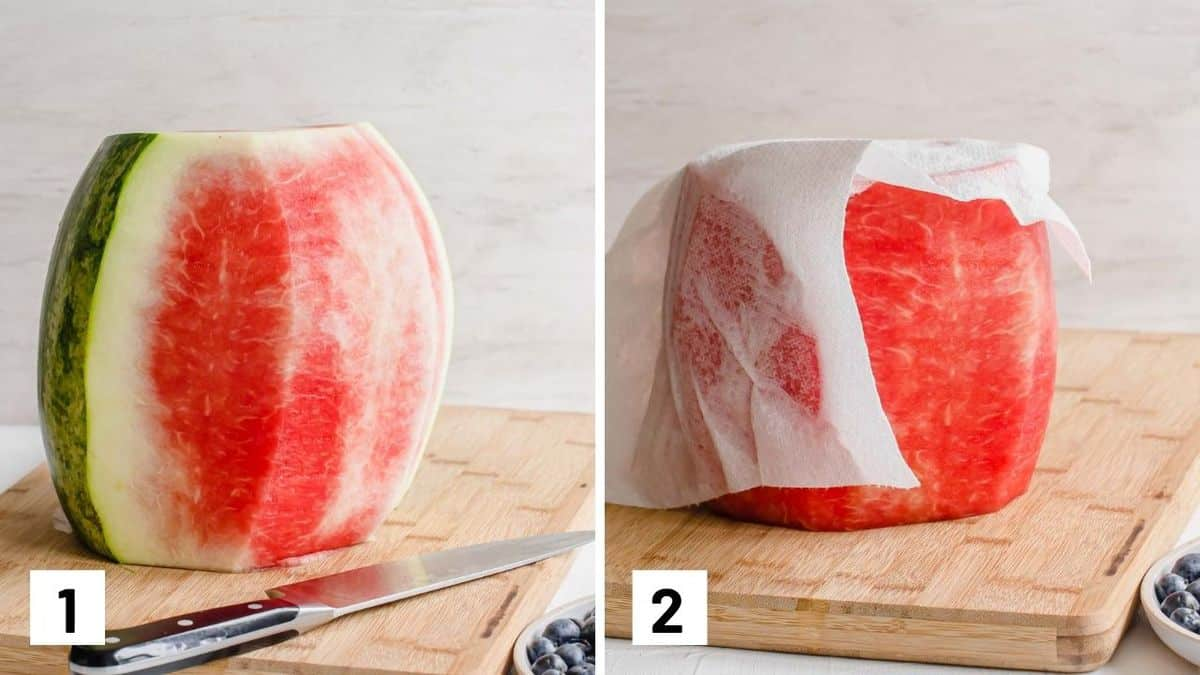 Set of two photos showing a watermelon with the skin cut off and then patted dry with a paper towel.