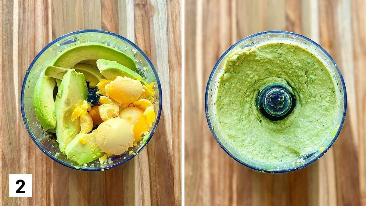 Set of two photos of avocado and yolks before and after being blended in the food processor.