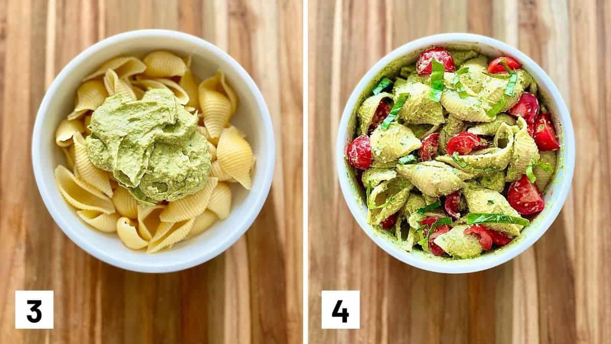 Set of two photos of the avocado pesto added to pasta and then topped with tomatoes and basil.