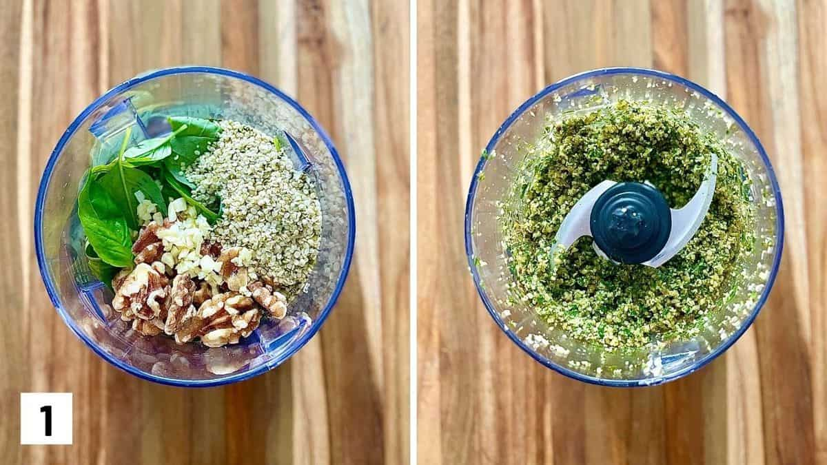 Set of two photos showing walnuts, garlic, hemp hearts, and basil before and after being pulsed in a food processor.