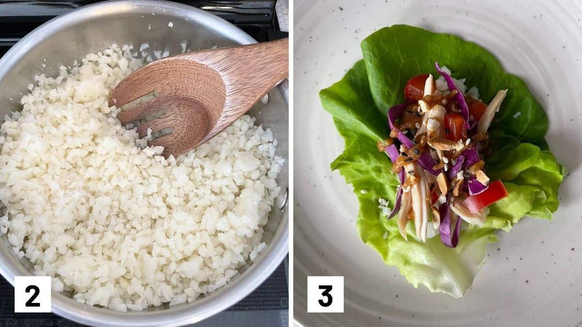 Set of two photos of cauliflower rice being cooked and a lettuce wrap assembled.