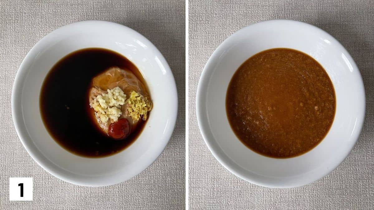 Set of two photos showing the before and after of mixing the peanut sauce.