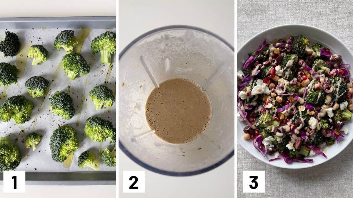 Set of three photos of broccoli being coated with olive oil on a sheet pan, dressing being made, and salad being put together.