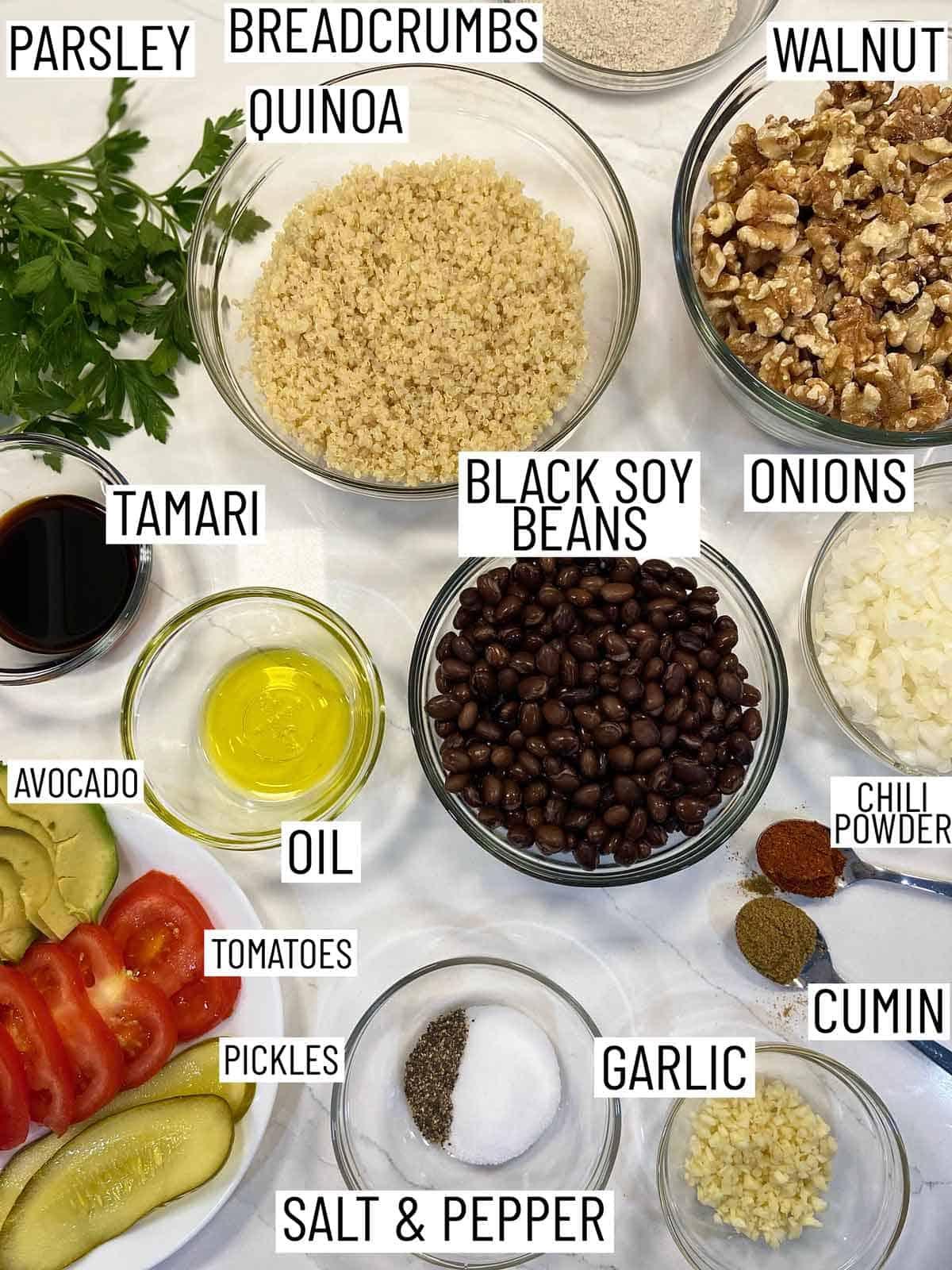 Ingredients needed to make quinoa burgers.