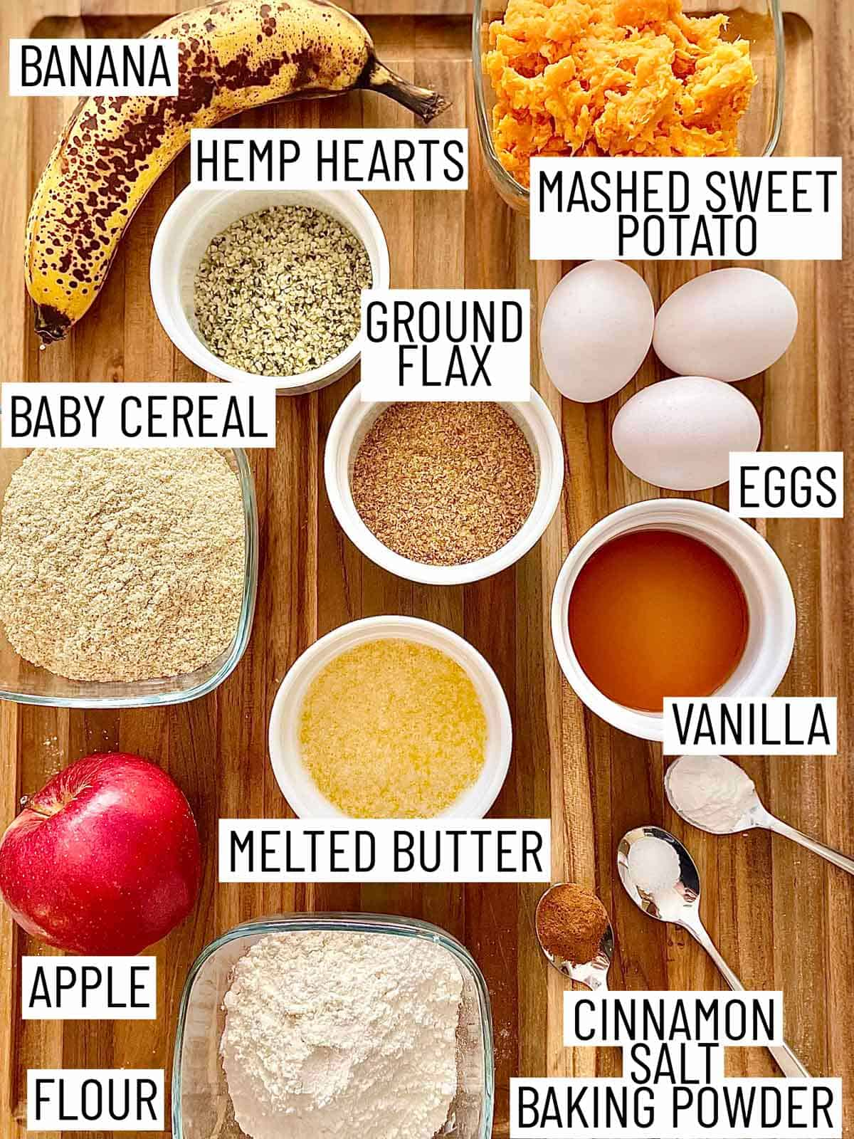 Ingredients needed to make sweet potato muffins.