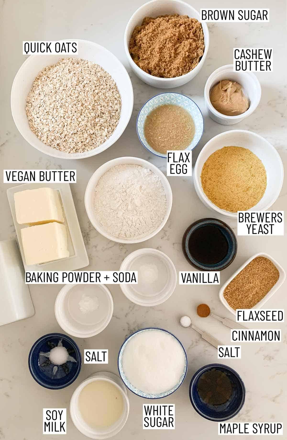 Ingredients needed to make toffee cookies.