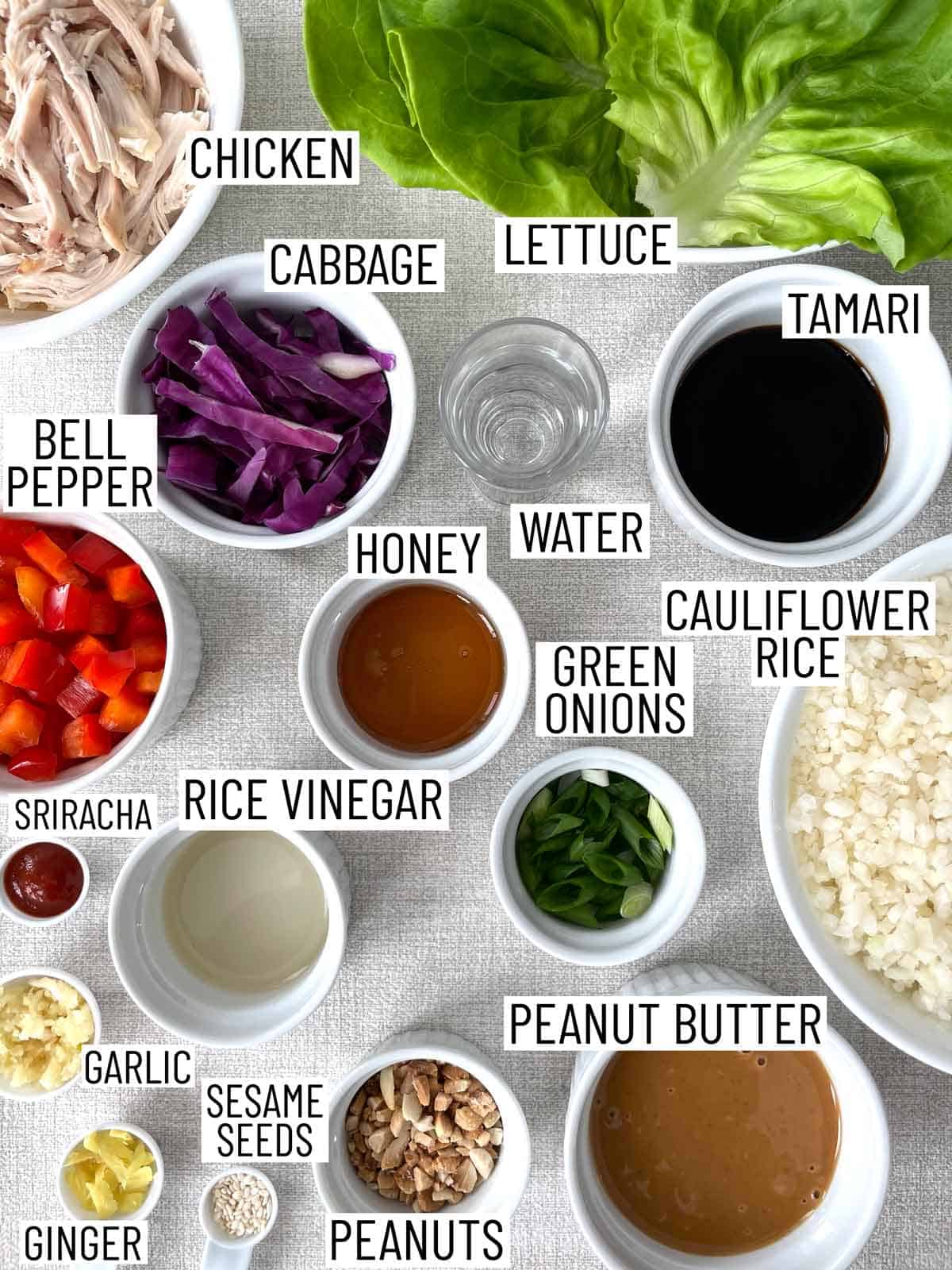 Ingredients needed to make chicken lettuce wraps.