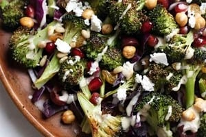 Pinterest graphic of a plate of roasted broccoli salad.
