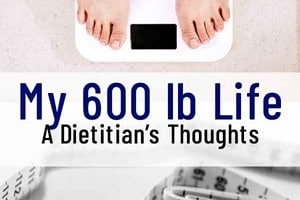 """Pinterest graphic of a measuring tape and someone standing on a scale with text overlay """"my 600lb life, a dietitian's thoughts."""""""