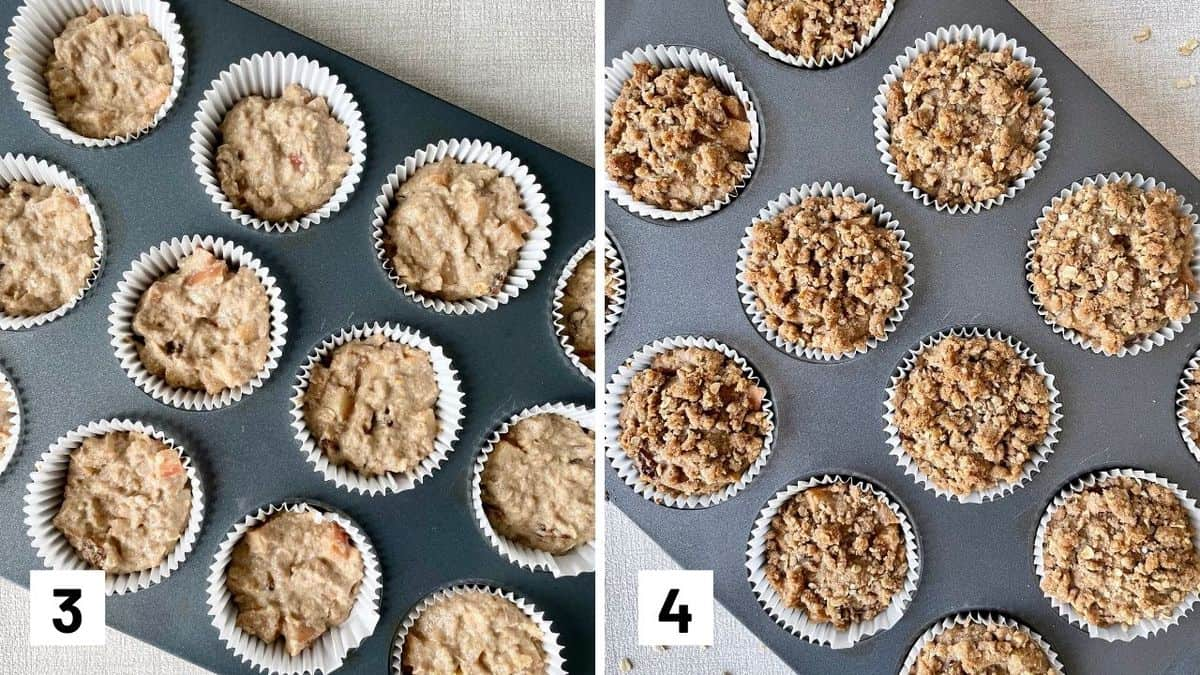 Set of two photos showing batter added to a muffin tin and then baked and topped with strudel.