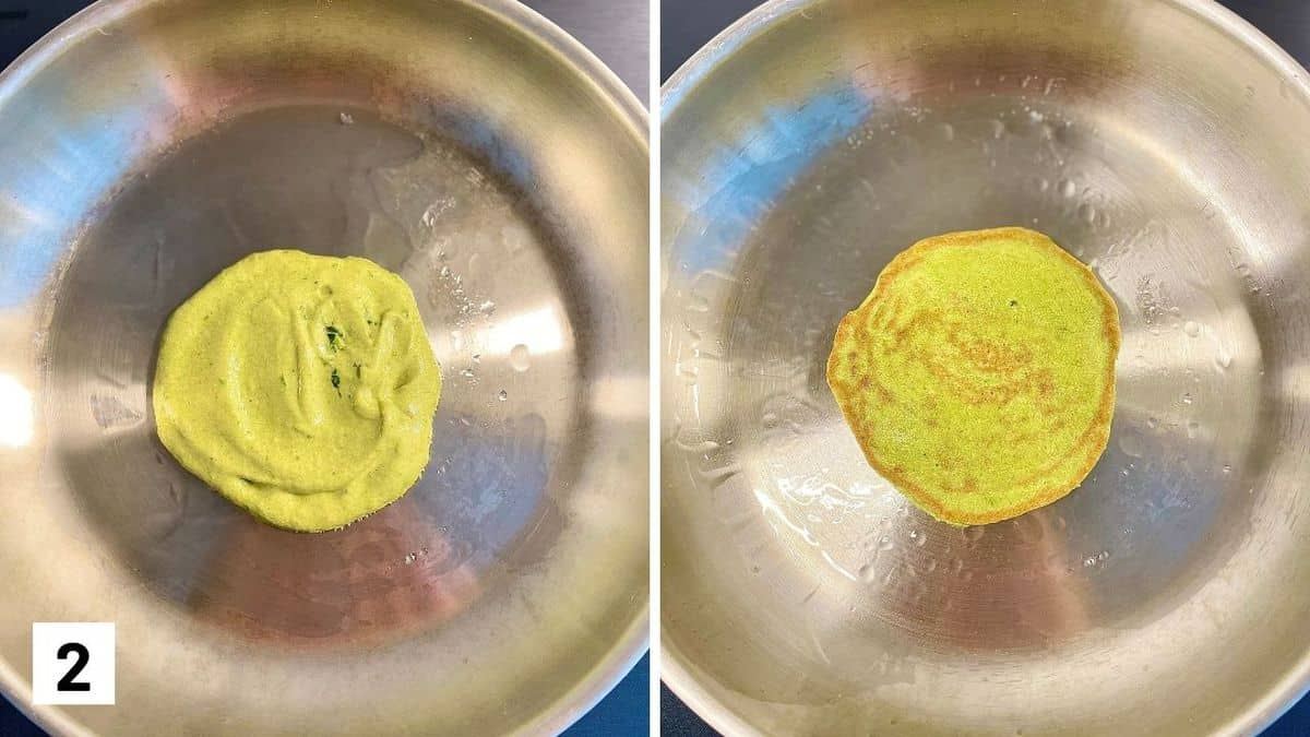Set of two photos showing batter added to a greased pan and then cooked and flipped.