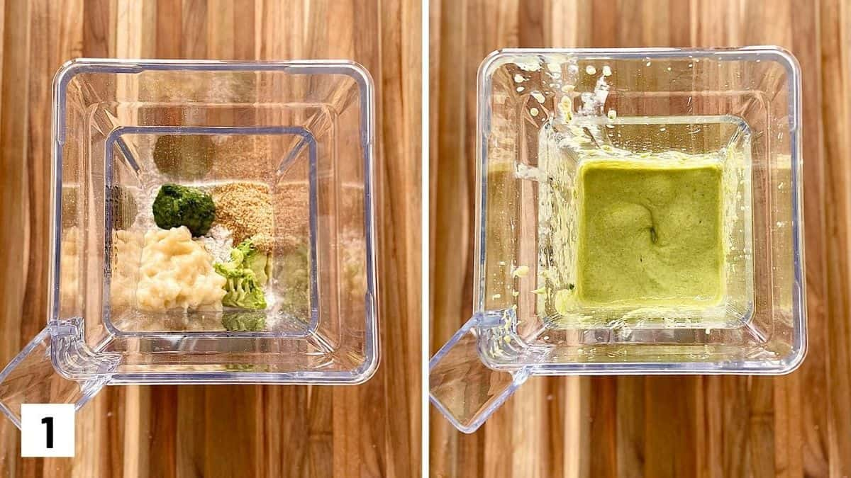Set of two photos showing batter ingredients added to a blender and mixed.