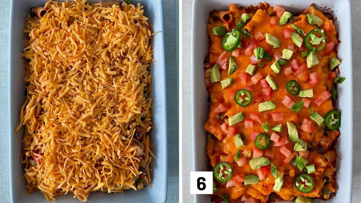 Set of two photos showing shredded cheese added to the top of the casserole dish and then baked and topped with avocado and jalapeños.