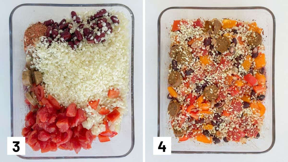 Set of two photos showing the ingredients for the sausage casserole added to a baking dish and baked.