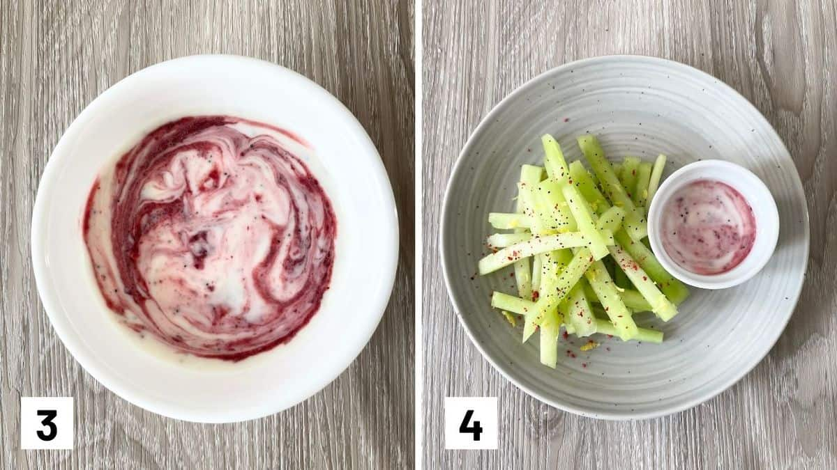 Set of two photos showing the cherry puree added to the yogurt sauce and then the final dish.