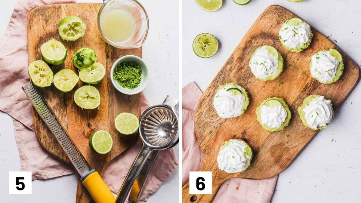 Set of two photos showing additional zest being made and then topping the mini pies with zest, cream, and lime wedges.