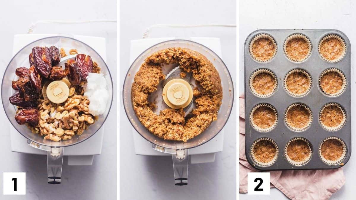 Set of three photos showing the before and after of the crust ingredients in a food processor and then pressed into a muffin tin.
