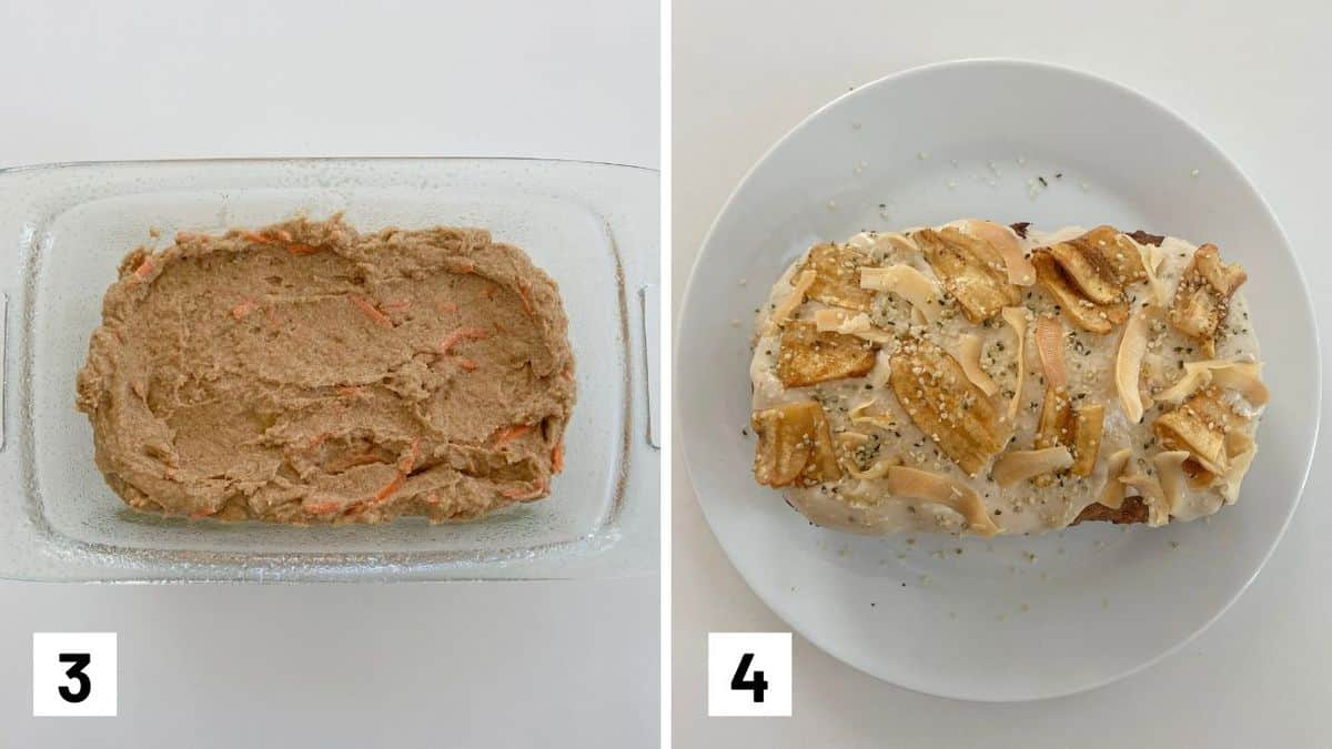 Set of two photos showing the before and after of the cake being baked.