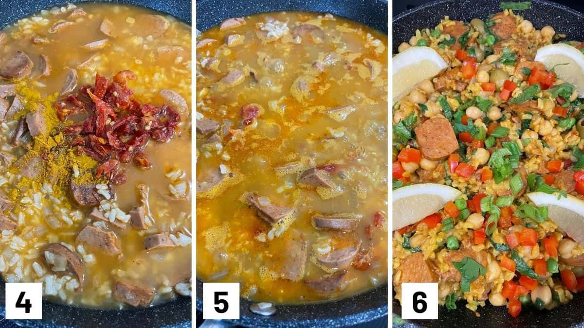 Set of three photos showing broth, saffron, and sundried tomatoes added to the pan, simmered, then chickpeas, bell peppers, spinach, peas, olives added.