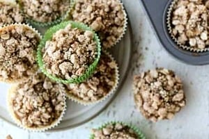 Pinterest graphic of several muffins on a plate, in the muffin tray, and more on the counter.