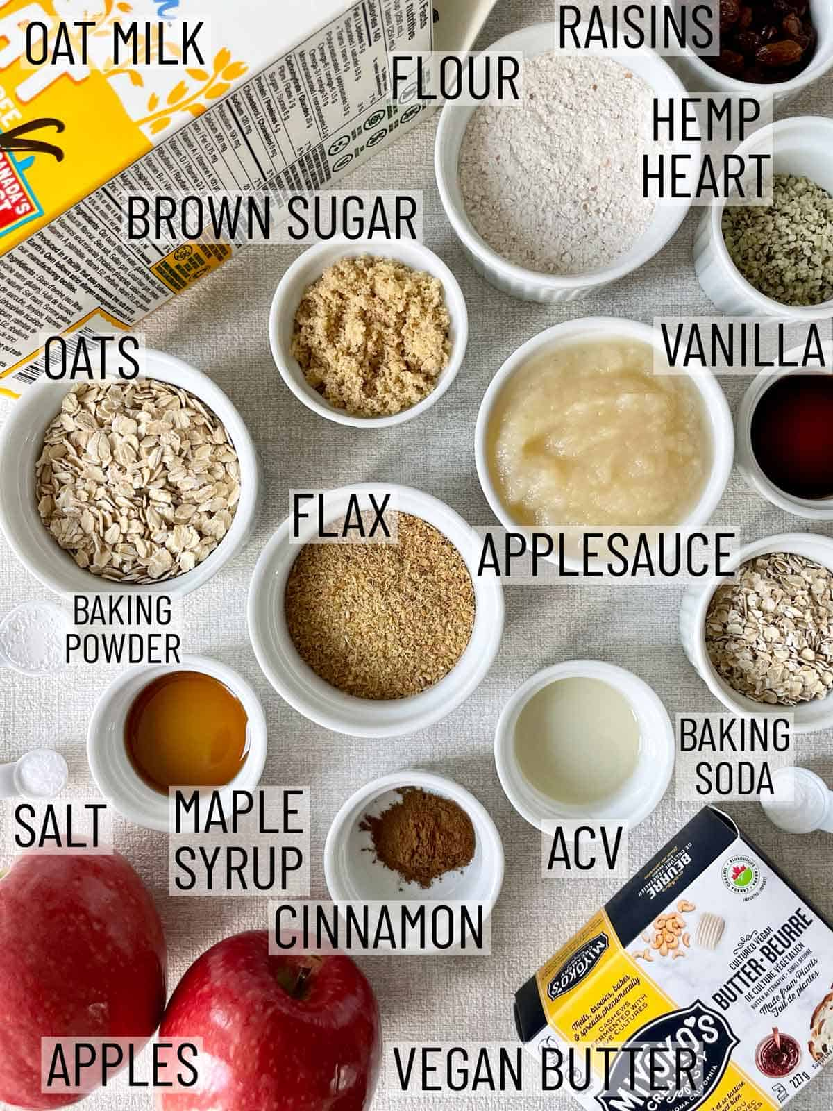 Ingredients needed for apple oatmeal muffins.