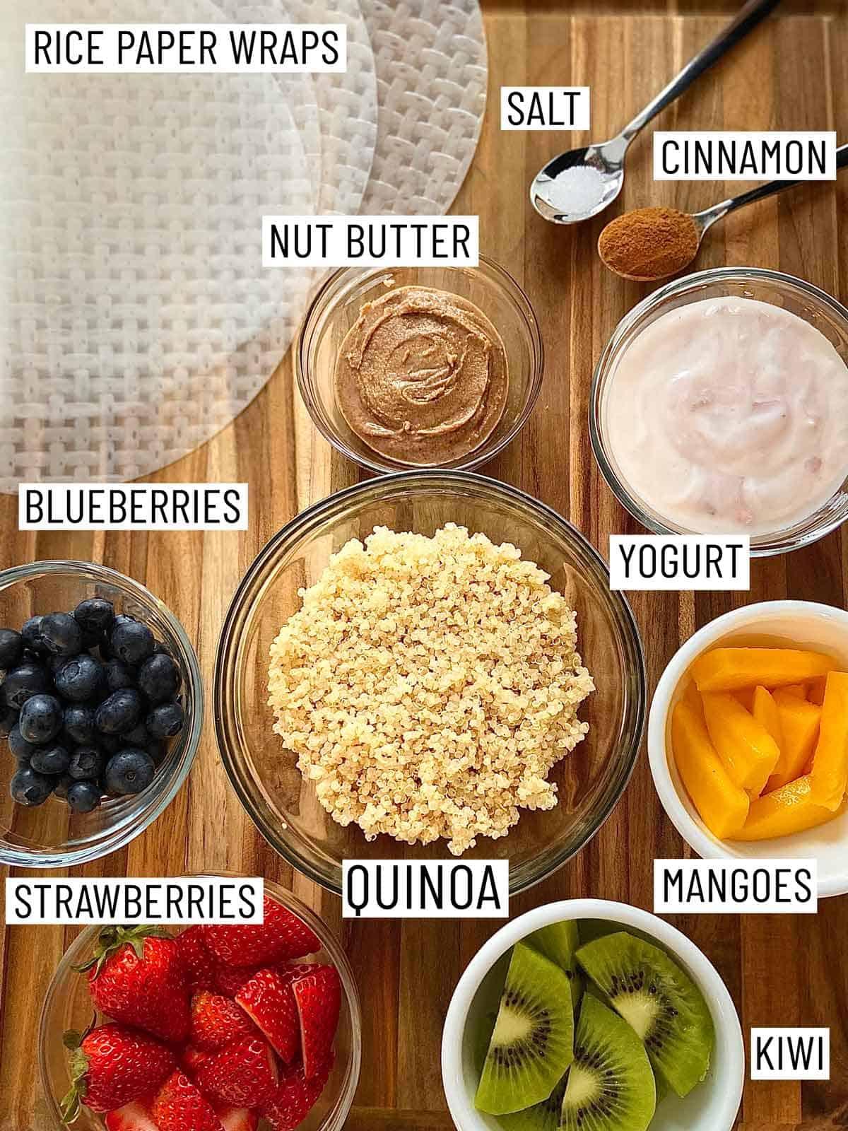 Ingredients needed to make fruit spring rolls.