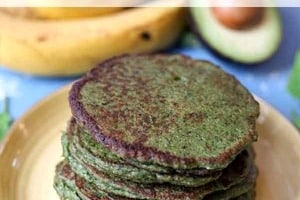 Pinterest graphic of a stack of green pancakes on a yellow plate.