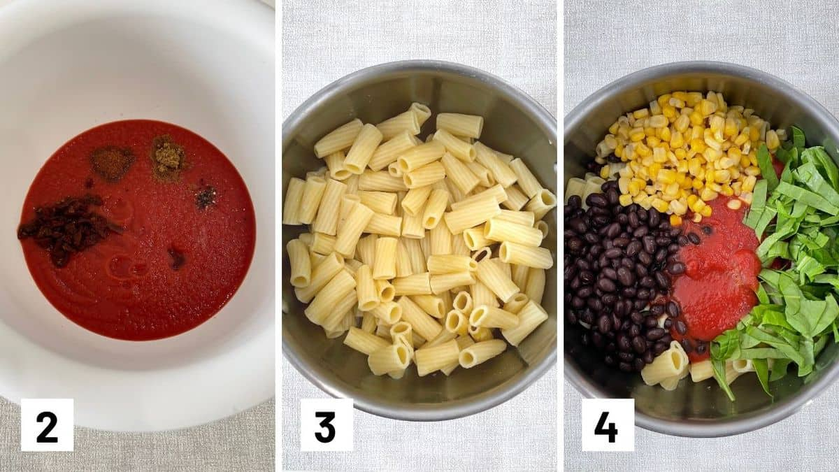 Set of three photos showing pasta sauce with seasoning, cooked pasta in a bowl, filling added to pasta.