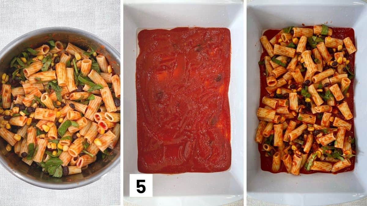 Set of three photos showing the pasta being tossed with ingredients, casserole dish with sauce, then filling added to the dish.
