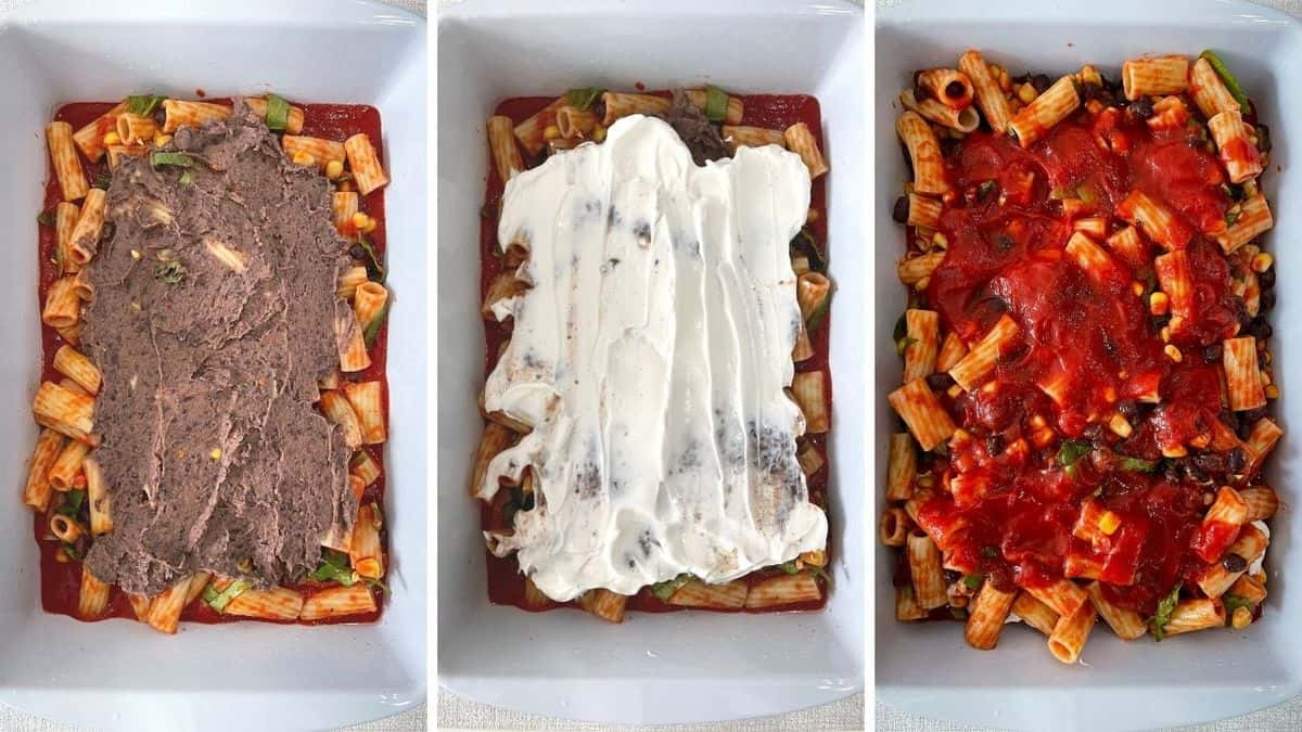 Set of three photos showing the bean pasta added then sour cream, and more sauce.