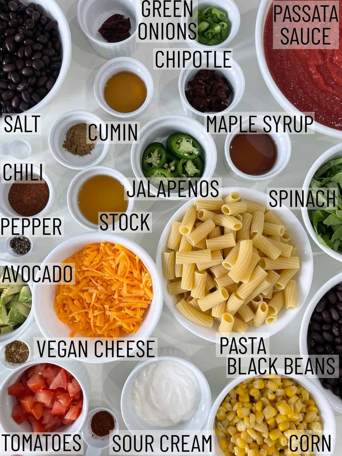 Ingredients for a Mexican pasta casserole