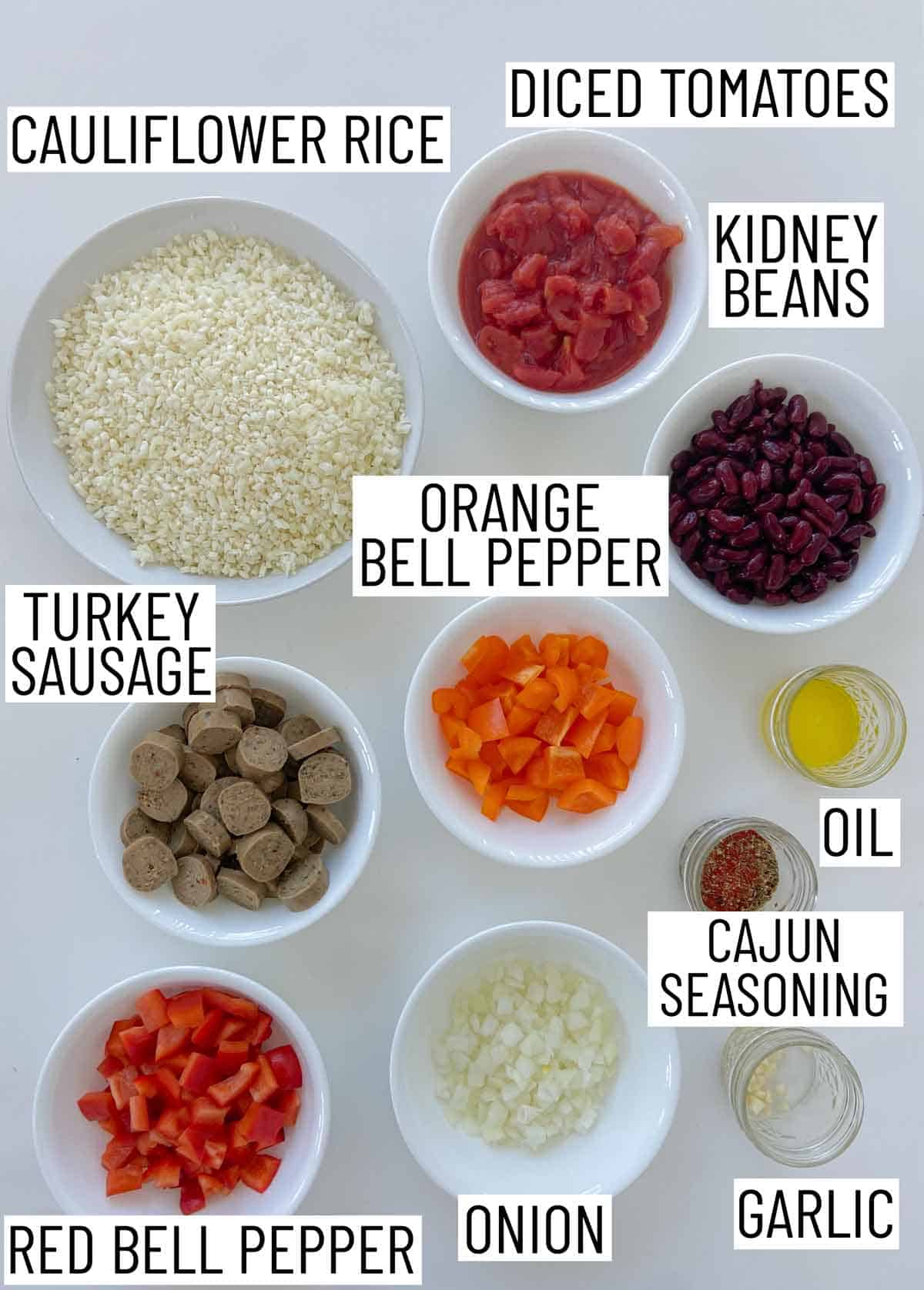 Ingredients needed to make a sausage casserole.