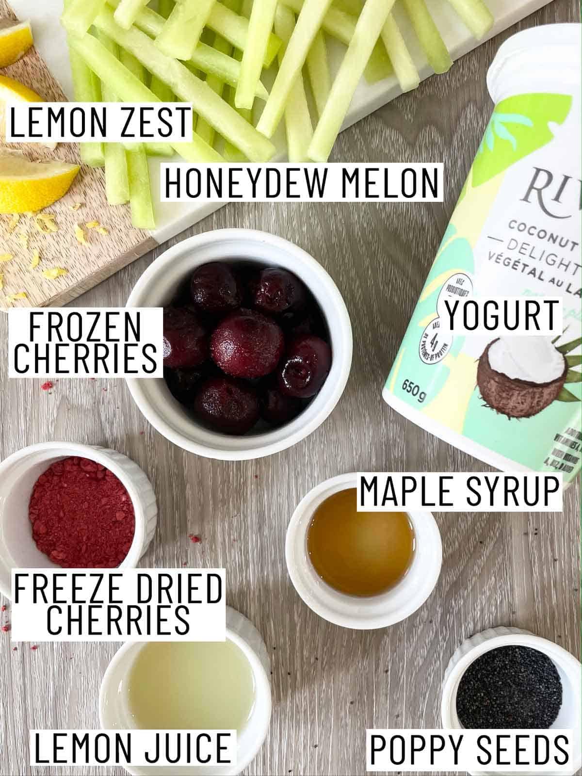 Ingredients needed to make honeydew sticks.