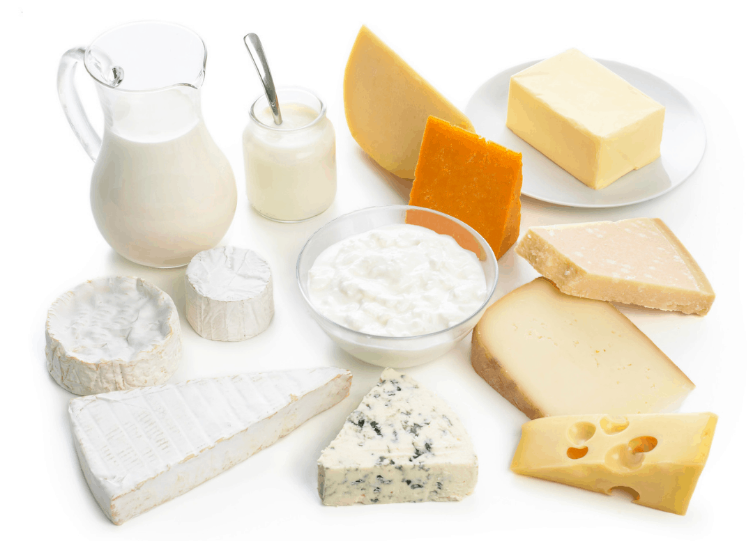 Cows milk protein foods including cheese, yogurt, and milk on white surface.