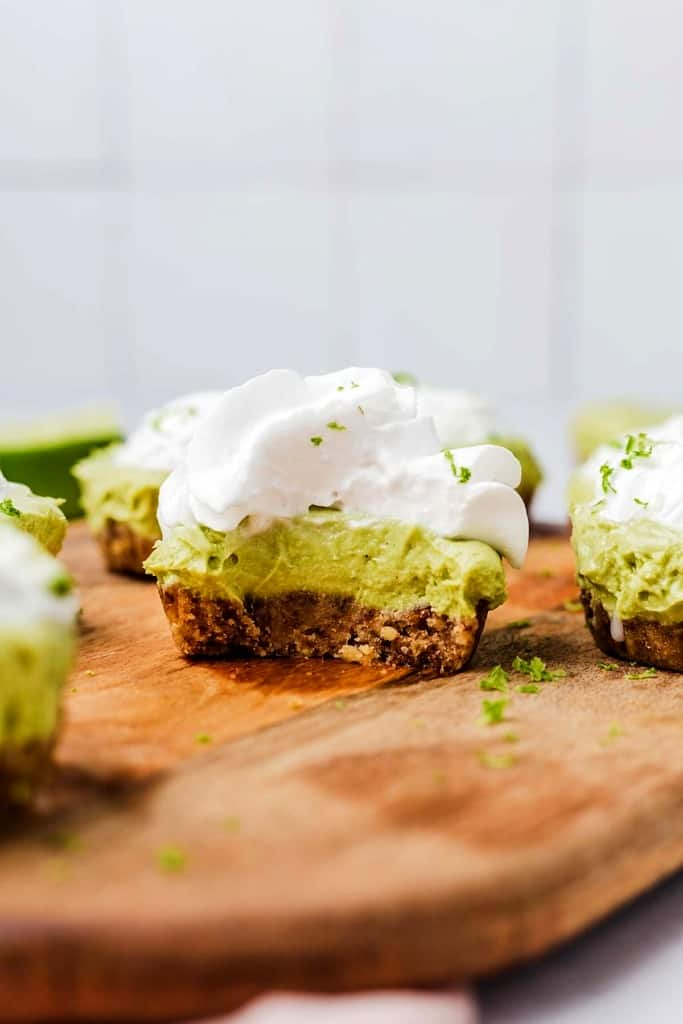 A mini no-bake pie with a bite taken out of it.