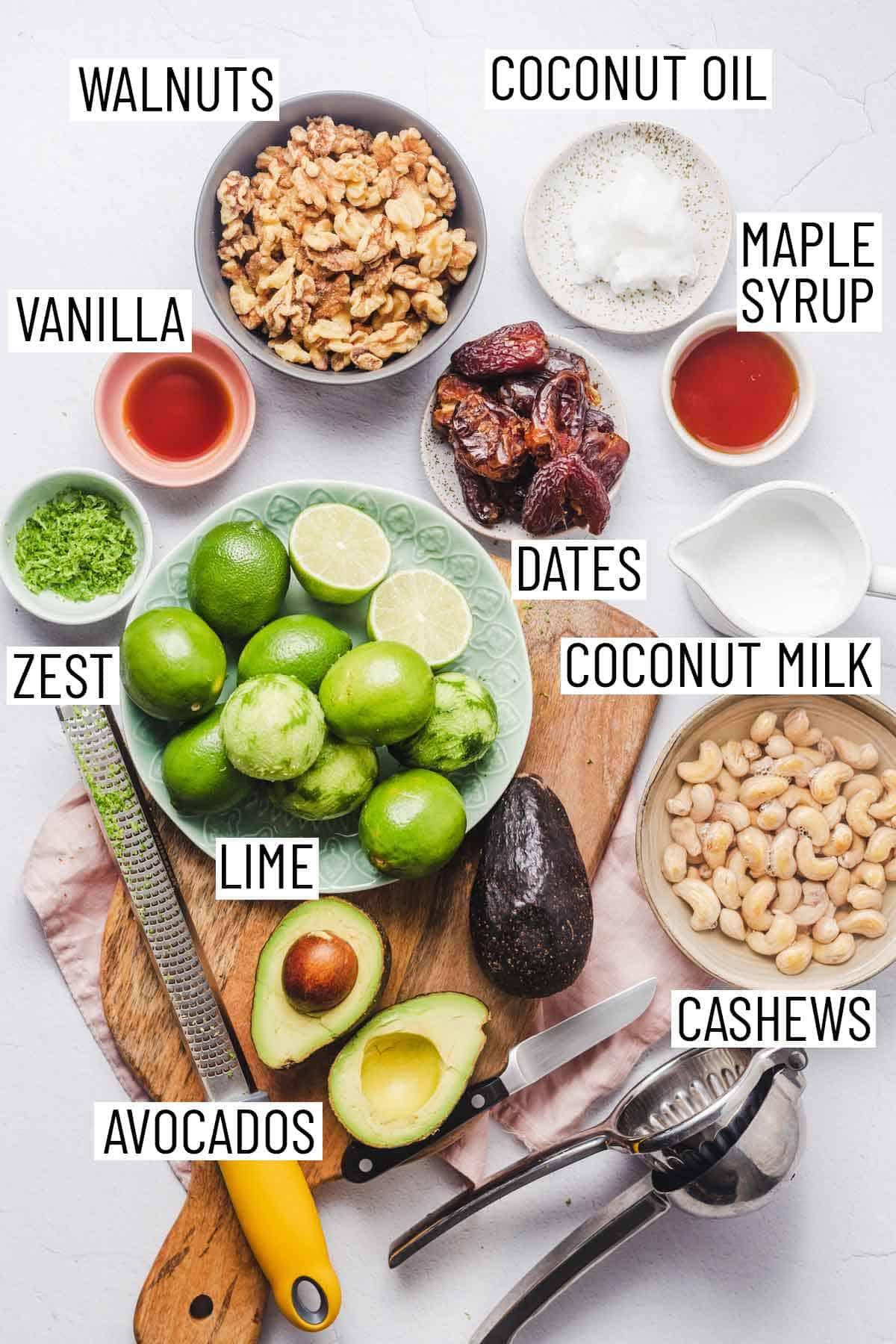 Ingredients needed to make vegan key lime pies.